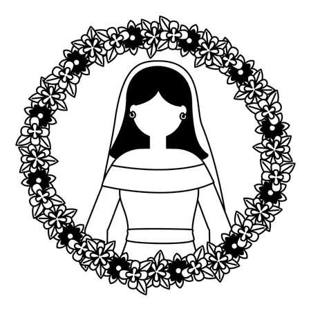bride with flower garland wedding day vector illustration