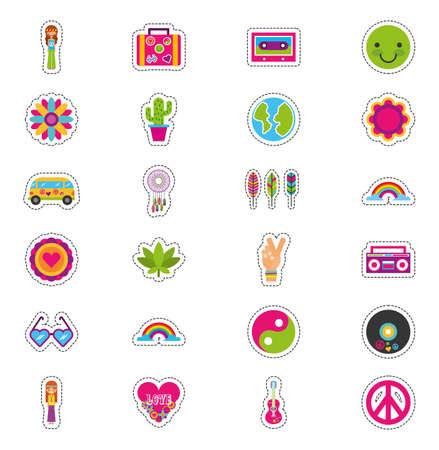 bundle of hippie culture set icons vector illustration design