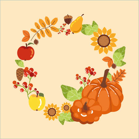 wreath with pumpkins of autumn and decoration vector illustration design Ilustracja