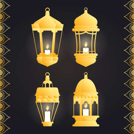 Ramadan kareem card with set golden lanterns vector illustration design