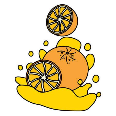 orange juice splash tropical fruits vector illustration  イラスト・ベクター素材