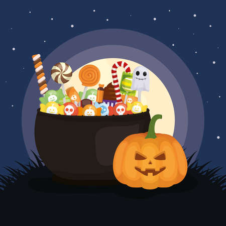 pumpkin cauldron with candies night moon trick or treat happy halloween vector illustration