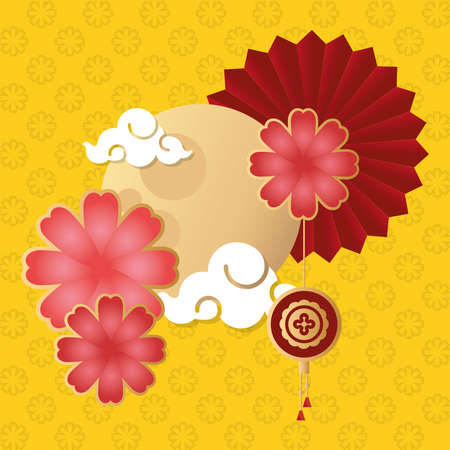 mid autumn festival poster with moon and flowers vector illustration design