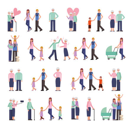 group of family members characters vector illustration design Illustration