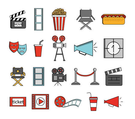 bundle of cinema entertainment set icons vector illustration design