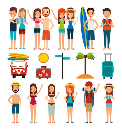 group of people and summer vacations icons vector illustration design
