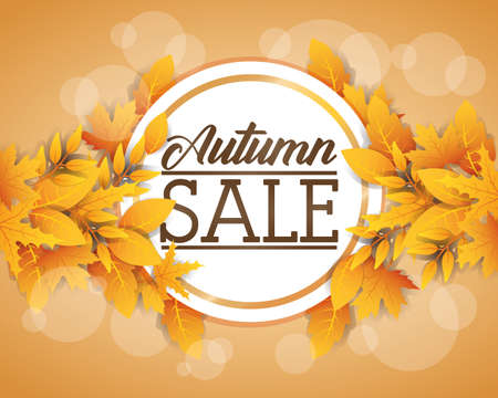 autumn sale circular seasonal frame vector illustration design