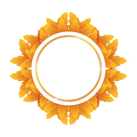 autumn circular frame with leafs decoration vector illustration design