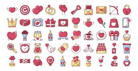 bundle of valentines day set icons vector illustration design