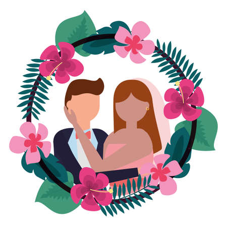 bride and groom wreath flowers wedding day vector illustration