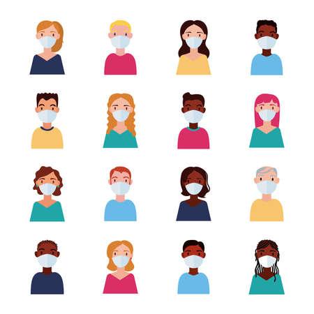 dirvesity people wearing medical mask flat style vector illustration design 矢量图像