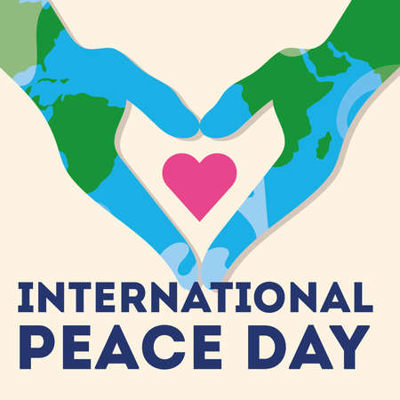 International Day of Peace lettering with hands world painted and heart vector illustration design Ilustrace