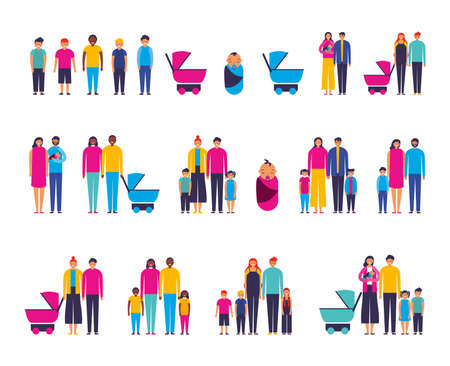 group of interracial family members vector illustration design