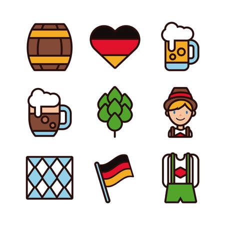 bundle of nine oktoberfest set icons vector illustration design