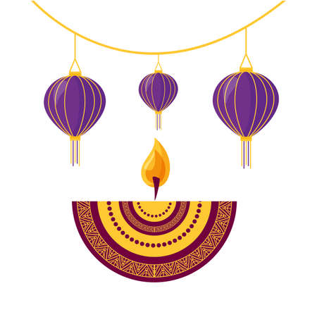 diwali fest lamps hanging with candle ethnicity icon vector illustration design