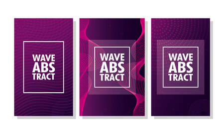 wave abstract with lettering and squares frames in purple background vector illustration design Ilustração