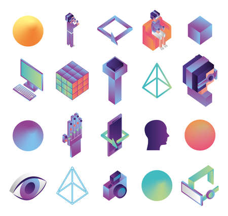 bundle of virtual reality technology icons vector illustration design 矢量图像