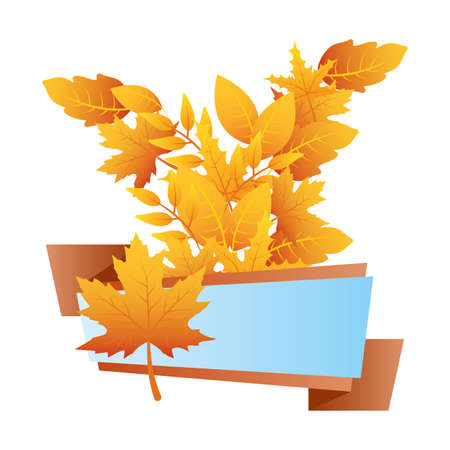 autumn branch with leafs blue label vector illustration design