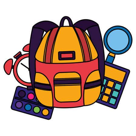 backpack calculator clock palette color back to school vector illustration