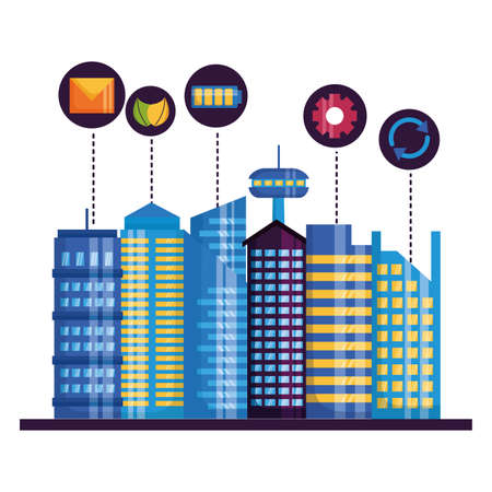 smart city urabn connection items mail energy vector illustration