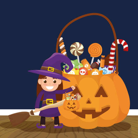 little girl with witch disguise and candies pumpkin vector illustration design 矢量图像