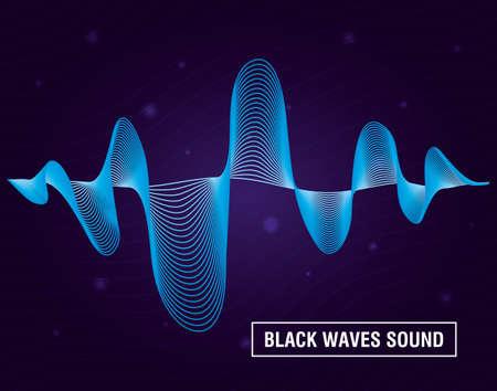 black waves sound purple background vector illustration design 矢量图像