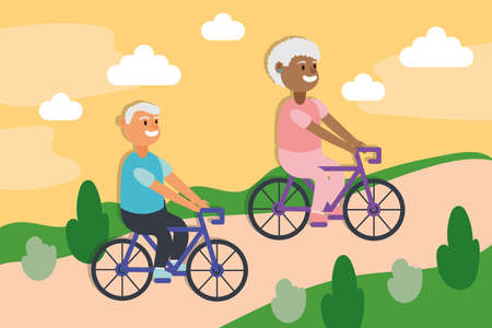 interracial old couple riding bicycles active seniors characters vector illustration design