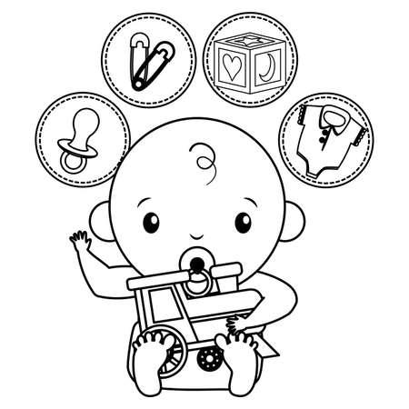 cute little baby boy with train and set toys vector illustration design Ilustração