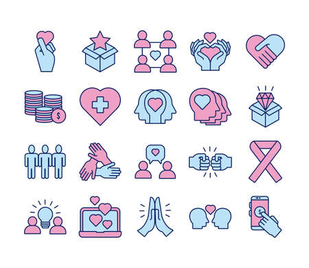 bundle of charity and solidarity icons vector illustration design