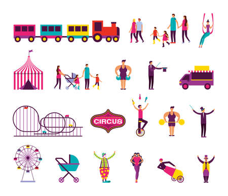 bundle of people and circus fair set icons vector illustration design Illustration