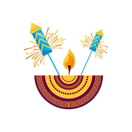 candle mandala with fireworks diwali fest vector illustration design