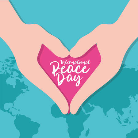 International Day of Peace lettering in heart with hands and earth planet vector illustration design