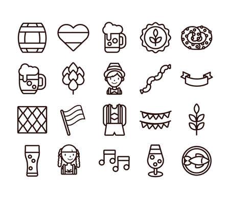 bundle of twenty oktoberfest set collection icons vector illustration design