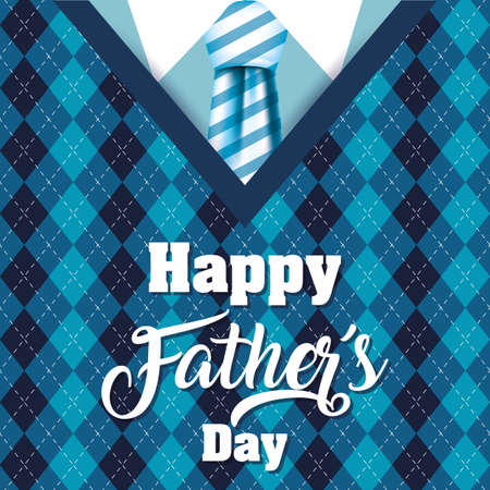 happy fathers day card with elagant suit and necktie vector illustration design