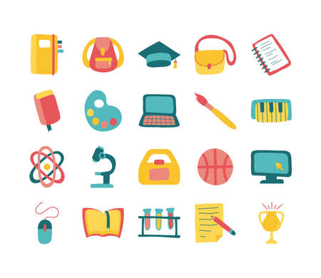 bundle of twenty school supplies flat style icons vector illustration design Vettoriali
