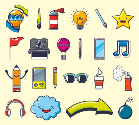 bundle of creative photographic ideas set icons vector illustration design Vettoriali
