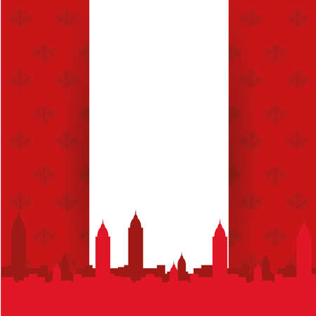 Canadian flag with city building silhouette design, Happy canada day holiday and national theme Vector illustration 向量圖像