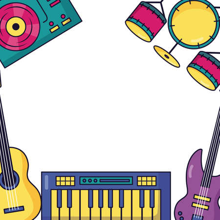 synthesizer guitar drums and turntable vinyl festival music vector illustration