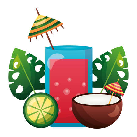 summer time holiday juice coconut lime monstera leaves vector illustration