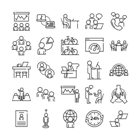 bundle of twenty five coworking set line style icons vector illustration design Vettoriali