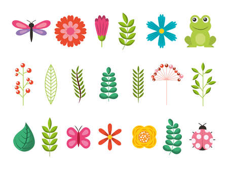bundle of flowers with leafs and animals garden vector illustration design