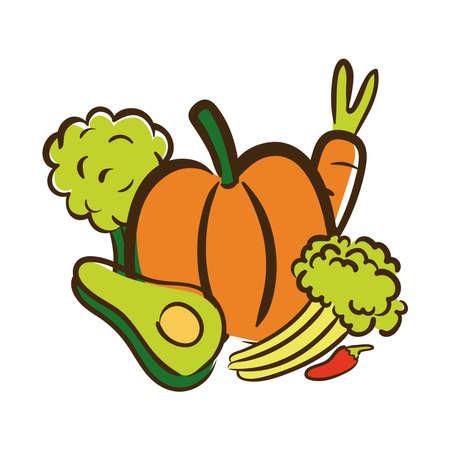 fresh vegetables flat style icon vector illustration design