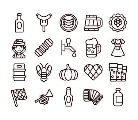 bundle of twenty oktoberfest set icons vector illustration design Illustration