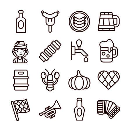 bundle of sixteen oktoberfest set icons vector illustration design Illustration