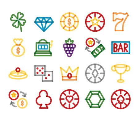 bundle of casino set icons vector illustration design 矢量图像