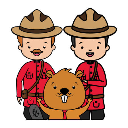 canadian police mounted characters beaver happy canada day vector illustration