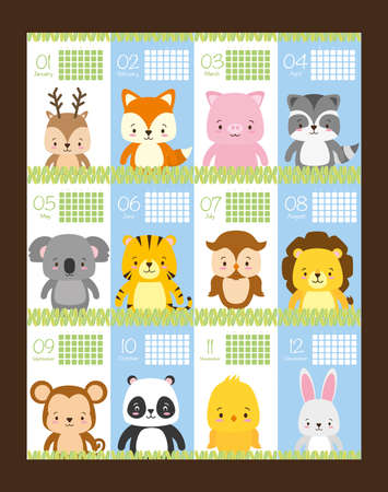 cute animals calendar reminder cartoon vector illustration