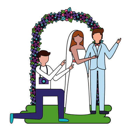 photographer taking picture couple wedding in flower arch vector illustration Ilustracja