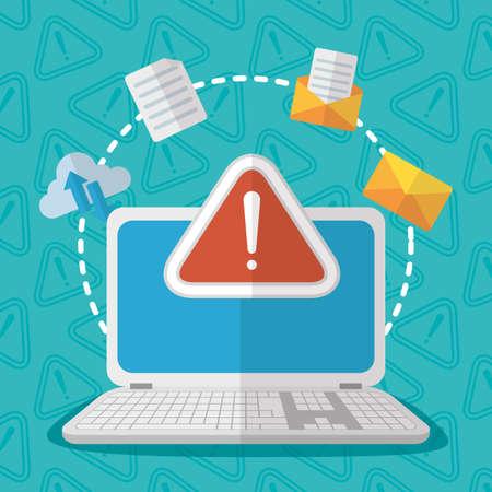 laptop warning alert email cloud storage technology internet security vector illustration Vector Illustratie