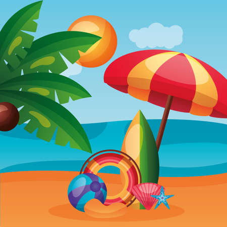 summer time holiday beach umbrella lifebuoy ball surfboard palm tree sun vector illustration Ilustrace